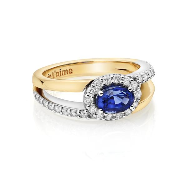 Exclusieve saffier ring met diamanten