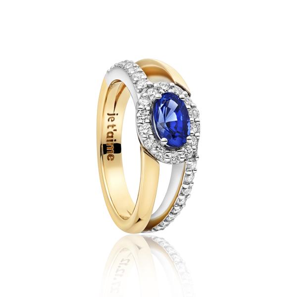 Exclusieve ring met saffier en diamanten