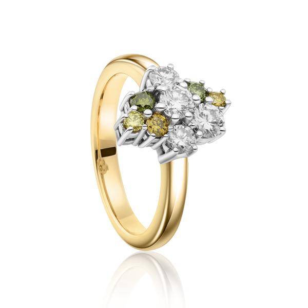 Exclusieve sollitair ring met kleurdiamanten