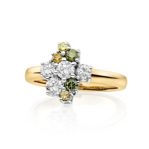 Exclusieve sollitairring met kleurdiamanten